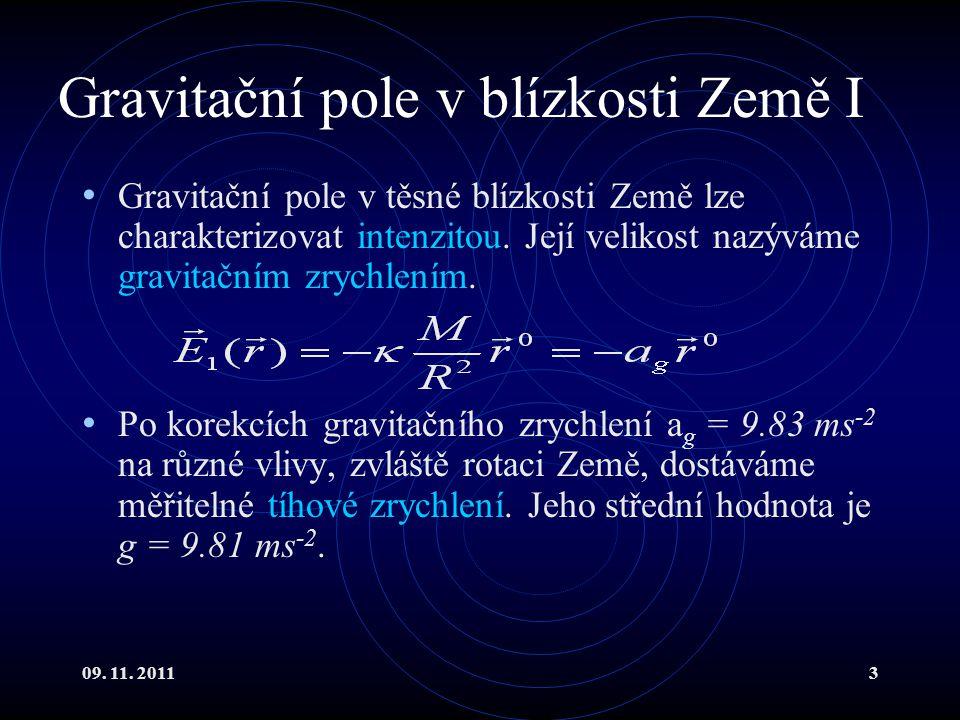 09. 11. 20113 Gravitační pole v blízkosti Země I Gravitační pole v těsné blízkosti Země lze charakterizovat intenzitou. Její velikost nazýváme gravita