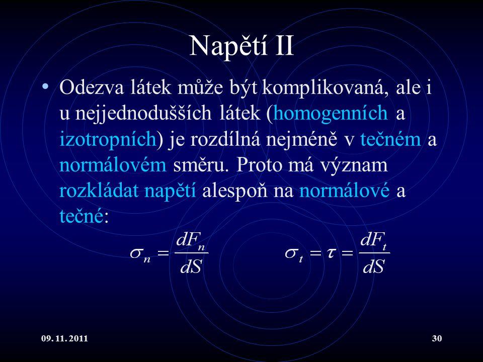 09. 11. 201130 Napětí II Odezva látek může být komplikovaná, ale i u nejjednodušších látek (homogenních a izotropních) je rozdílná nejméně v tečném a