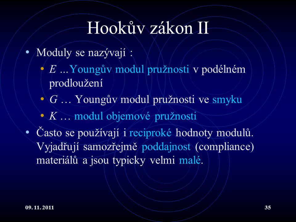 09. 11. 201135 Hookův zákon II Moduly se nazývají : E …Youngův modul pružnosti v podélném prodloužení G … Youngův modul pružnosti ve smyku K … modul o