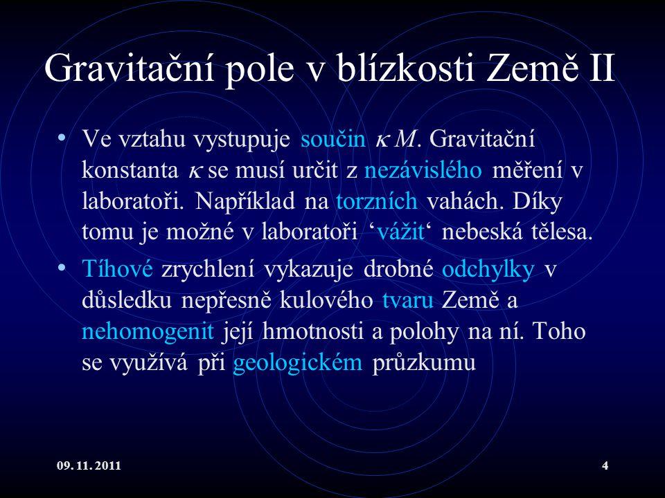 09. 11. 20114 Gravitační pole v blízkosti Země II Ve vztahu vystupuje součin  M. Gravitační konstanta  se musí určit z nezávislého měření v laborato