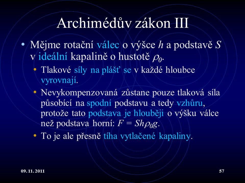 09. 11. 201157 Archimédův zákon III Mějme rotační válec o výšce h a podstavě S v ideální kapalině o hustotě  0. Tlakové síly na plášť se v každé hlou