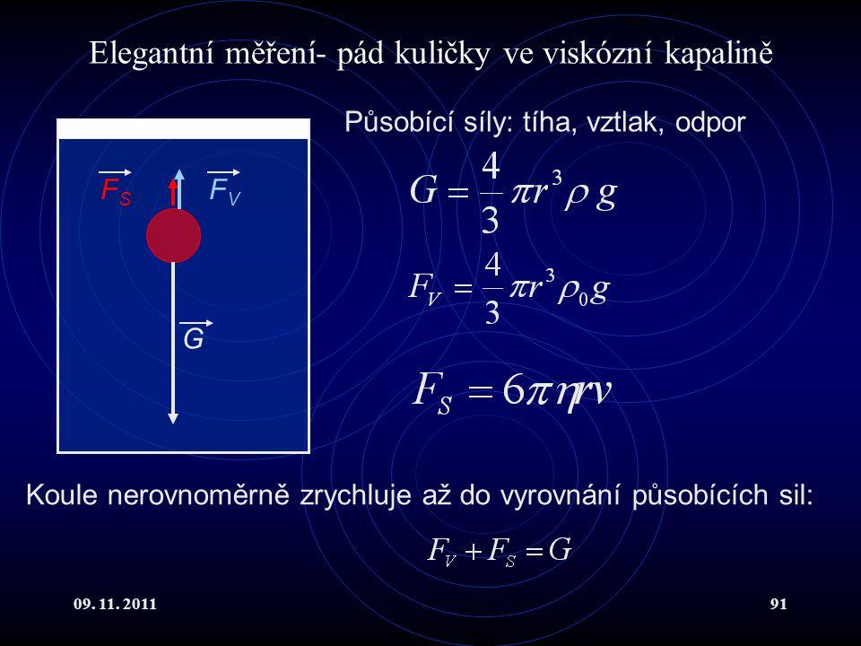 09. 11. 201191 Elegantní měření- pád kuličky ve viskózní kapalině G FVFV FSFS Působící síly: tíha, vztlak, odpor Koule nerovnoměrně zrychluje až do vy