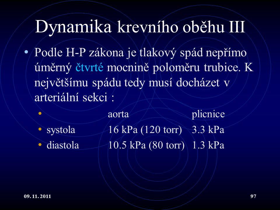 09. 11. 201197 Dynamika krevního oběhu III Podle H-P zákona je tlakový spád nepřímo úměrný čtvrté mocnině poloměru trubice. K největšímu spádu tedy mu