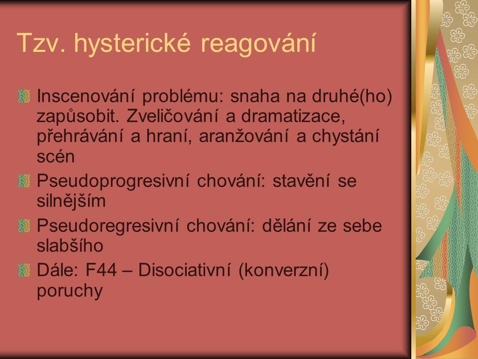 Tzv. hysterické reagování Inscenování problému: snaha na druhé(ho) zapůsobit.