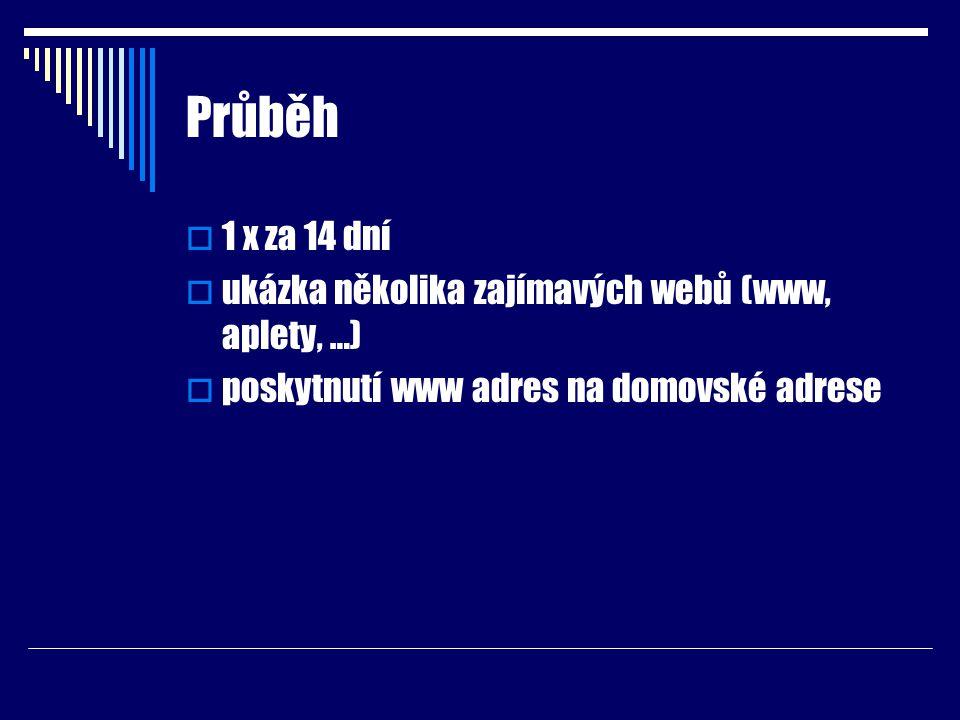 Průběh  1 x za 14 dní  ukázka několika zajímavých webů (www, aplety, …)  poskytnutí www adres na domovské adrese