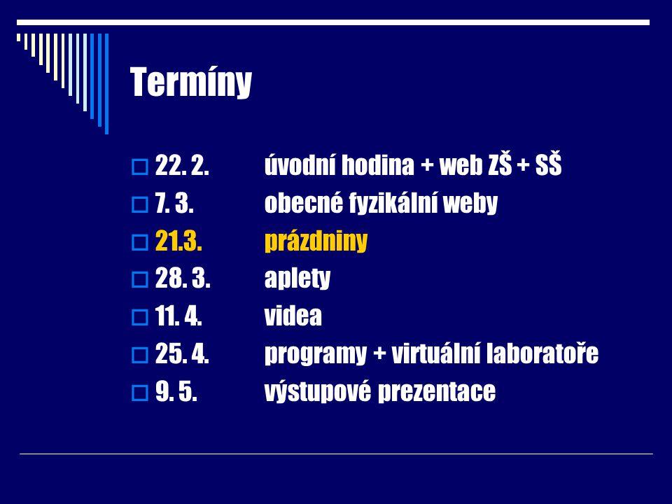 Termíny  22. 2.úvodní hodina + web ZŠ + SŠ  7. 3.obecné fyzikální weby  21.3.prázdniny  28. 3.aplety  11. 4.videa  25. 4.programy + virtuální la