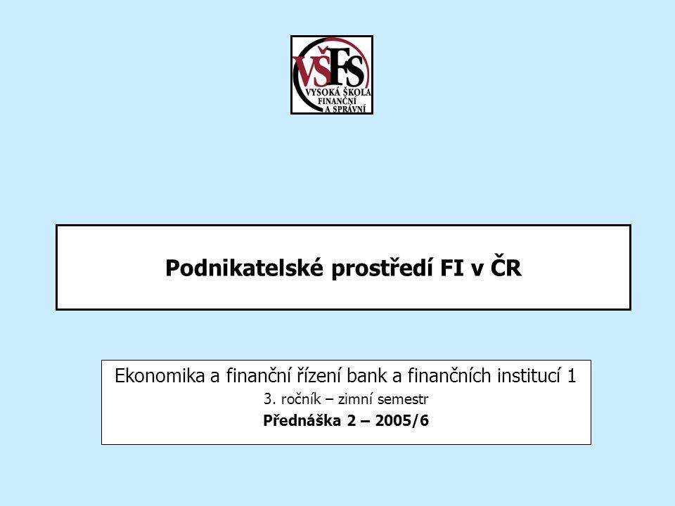 Podnikatelské prostředí FI v ČR Ekonomika a finanční řízení bank a finančních institucí 1 3.