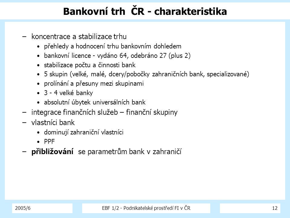 2005/6EBF 1/2 - Podnikatelské prostředí FI v ČR12 Bankovní trh ČR - charakteristika –koncentrace a stabilizace trhu přehledy a hodnocení trhu bankovním dohledem bankovní licence - vydáno 64, odebráno 27 (plus 2) stabilizace počtu a činnosti bank 5 skupin (velké, malé, dcery/pobočky zahraničních bank, specializované) prolínání a přesuny mezi skupinami 3 - 4 velké banky absolutní úbytek universálních bank –integrace finančních služeb – finanční skupiny –vlastníci bank dominují zahraniční vlastníci PPF –přibližování se parametrům bank v zahraničí