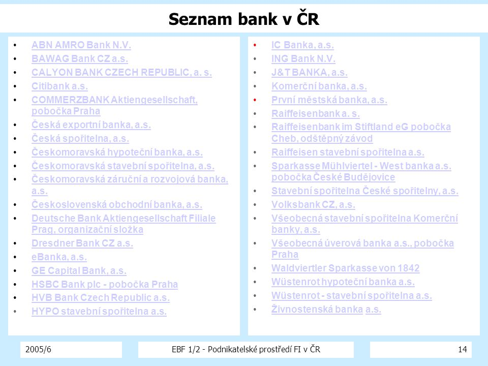 2005/6EBF 1/2 - Podnikatelské prostředí FI v ČR14 ABN AMRO Bank N.V.