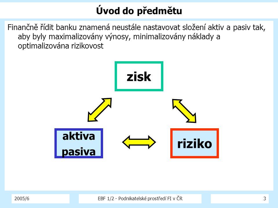 2005/6EBF 1/2 - Podnikatelské prostředí FI v ČR3 Úvod do předmětu Finančně řídit banku znamená neustále nastavovat složení aktiv a pasiv tak, aby byly maximalizovány výnosy, minimalizovány náklady a optimalizována rizikovost aktiva pasiva riziko zisk