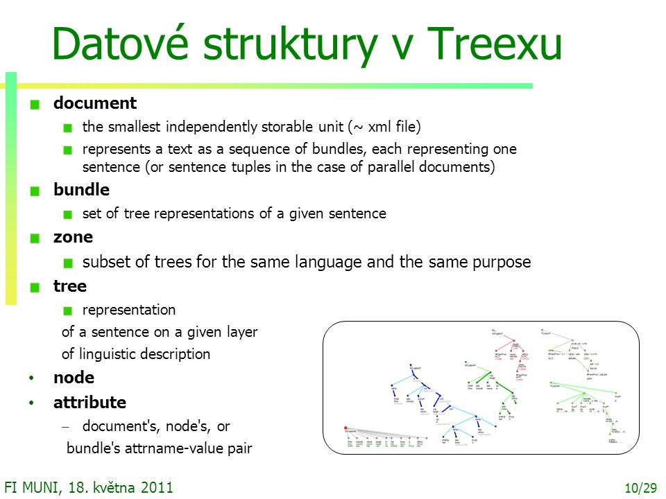 10/29 FI MUNI, 18. května 2011 Datové struktury v Treexu document the smallest independently storable unit (~ xml file)‏ represents a text as a sequen