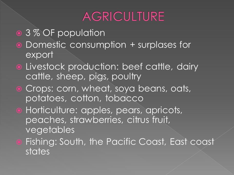  3 % OF population  Domestic consumption + surplases for export  Livestock production: beef cattle, dairy cattle, sheep, pigs, poultry  Crops: corn, wheat, soya beans, oats, potatoes, cotton, tobacco  Horticulture: apples, pears, apricots, peaches, strawberries, citrus fruit, vegetables  Fishing: South, the Pacific Coast, East coast states