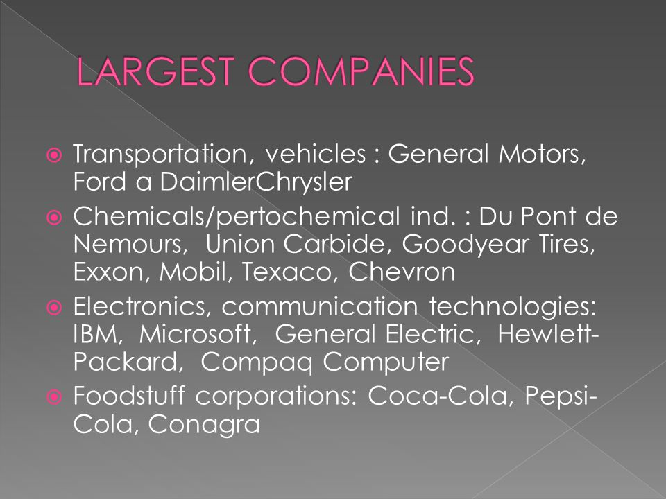  Transportation, vehicles : General Motors, Ford a DaimlerChrysler  Chemicals/pertochemical ind.