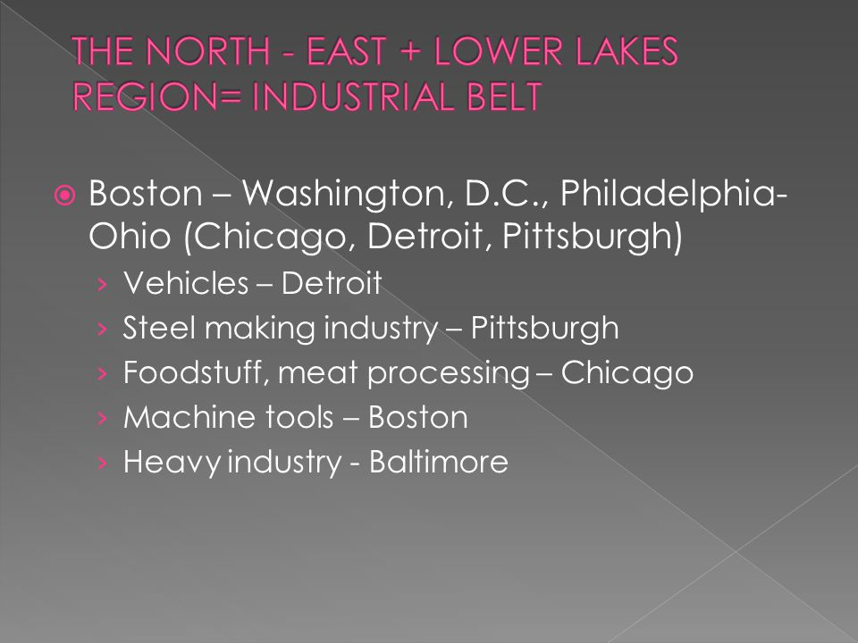  Boston – Washington, D.C., Philadelphia- Ohio (Chicago, Detroit, Pittsburgh) › Vehicles – Detroit › Steel making industry – Pittsburgh › Foodstuff, meat processing – Chicago › Machine tools – Boston › Heavy industry - Baltimore