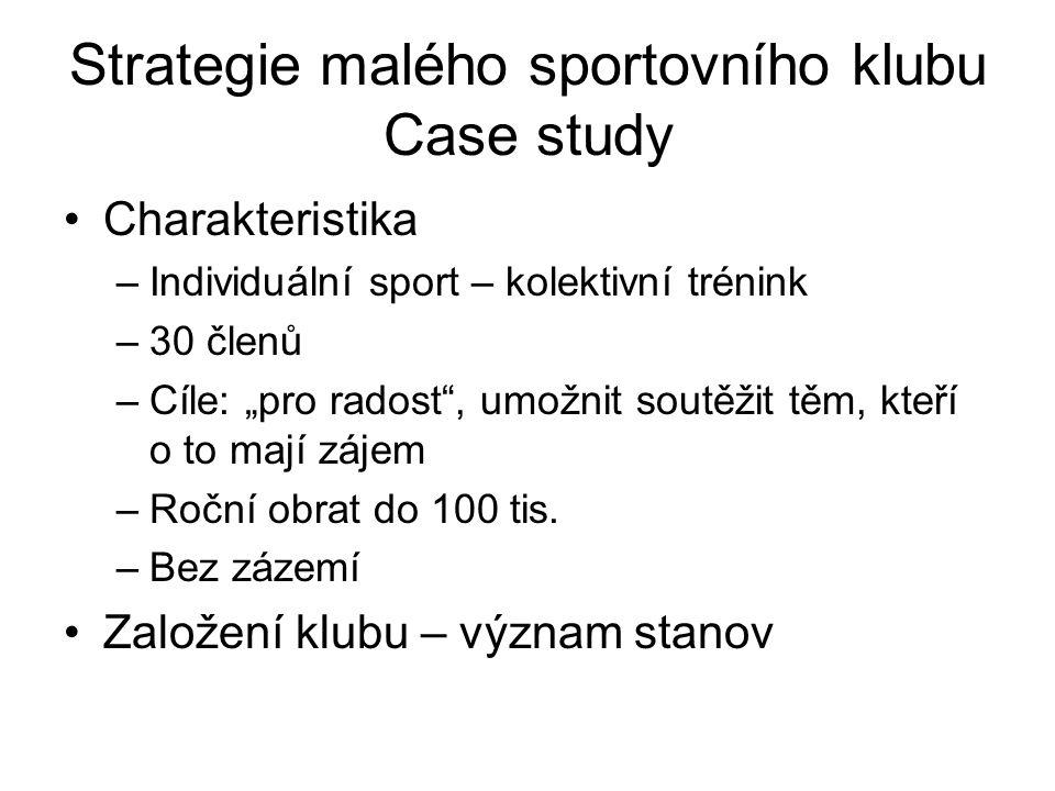 """Strategie malého sportovního klubu Case study Charakteristika –Individuální sport – kolektivní trénink –30 členů –Cíle: """"pro radost , umožnit soutěžit těm, kteří o to mají zájem –Roční obrat do 100 tis."""
