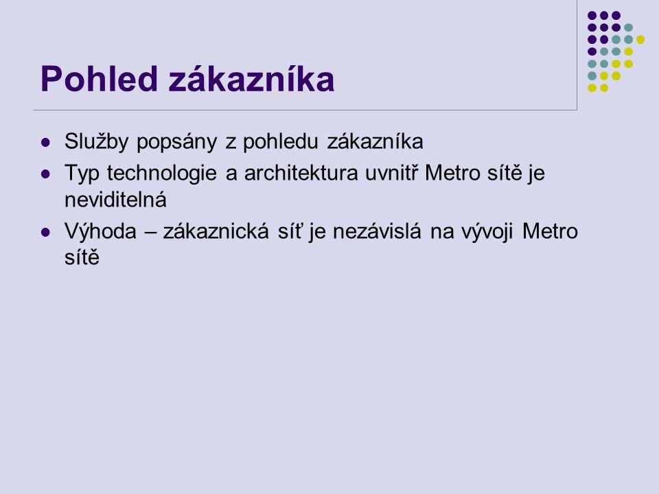 Pohled zákazníka Služby popsány z pohledu zákazníka Typ technologie a architektura uvnitř Metro sítě je neviditelná Výhoda – zákaznická síť je nezávis