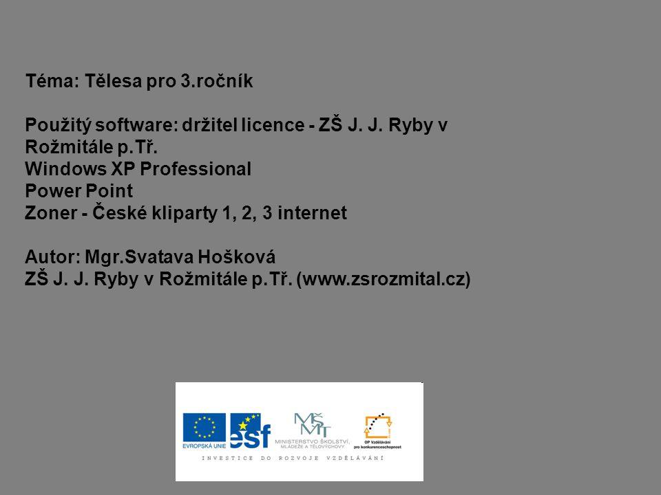 Téma: Tělesa pro 3.ročník Použitý software: držitel licence - ZŠ J. J. Ryby v Rožmitále p.Tř. Windows XP Professional Power Point Zoner - České klipar