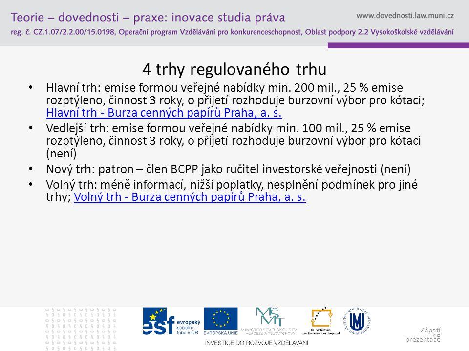 Zápatí prezentace 15 4 trhy regulovaného trhu Hlavní trh: emise formou veřejné nabídky min.