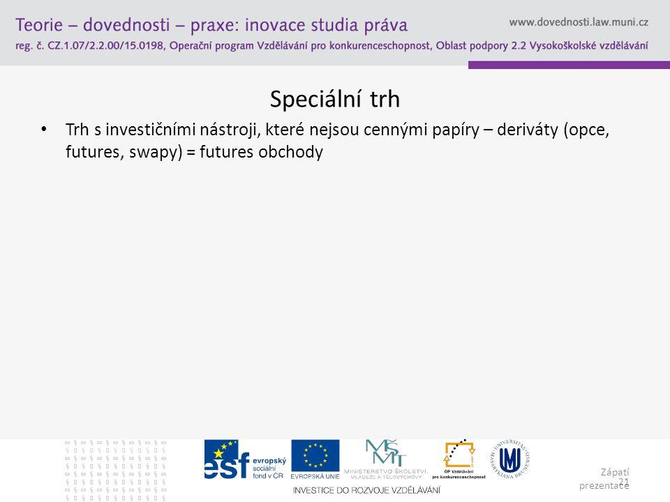 Zápatí prezentace 21 Speciální trh Trh s investičními nástroji, které nejsou cennými papíry – deriváty (opce, futures, swapy) = futures obchody