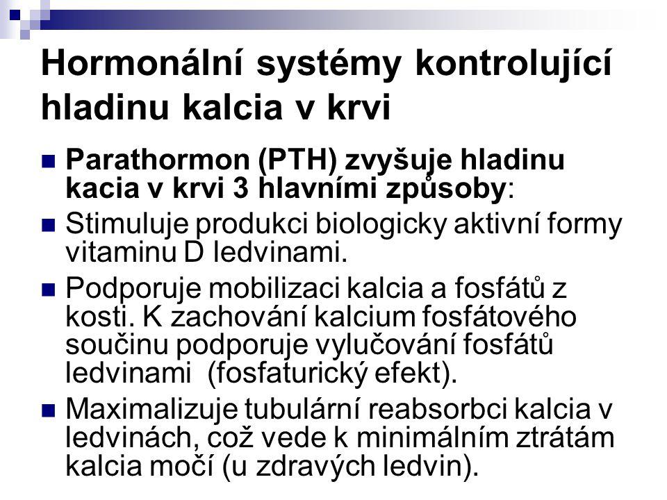 Hormonální systémy kontrolující hladinu kalcia v krvi Parathormon (PTH) zvyšuje hladinu kacia v krvi 3 hlavními způsoby: Stimuluje produkci biologicky