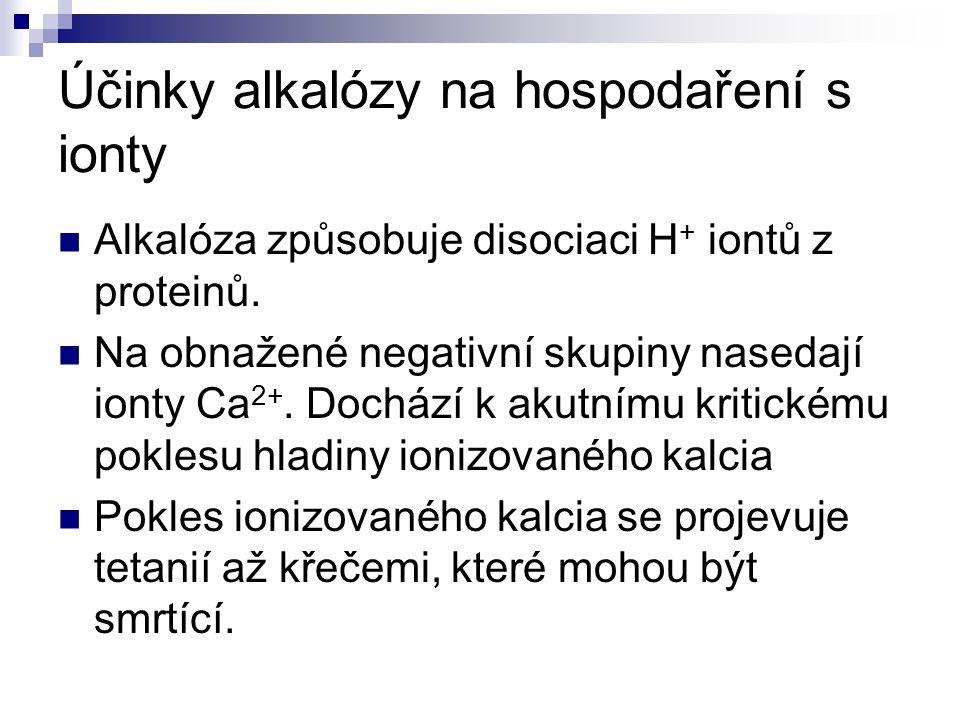 Účinky alkalózy na hospodaření s ionty Alkalóza způsobuje disociaci H + iontů z proteinů. Na obnažené negativní skupiny nasedají ionty Ca 2+. Dochází