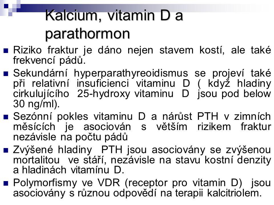 Kalcium, vitamin D a parathormon Riziko fraktur je dáno nejen stavem kostí, ale také frekvencí pádů. Sekundární hyperparathyreoidismus se projeví také
