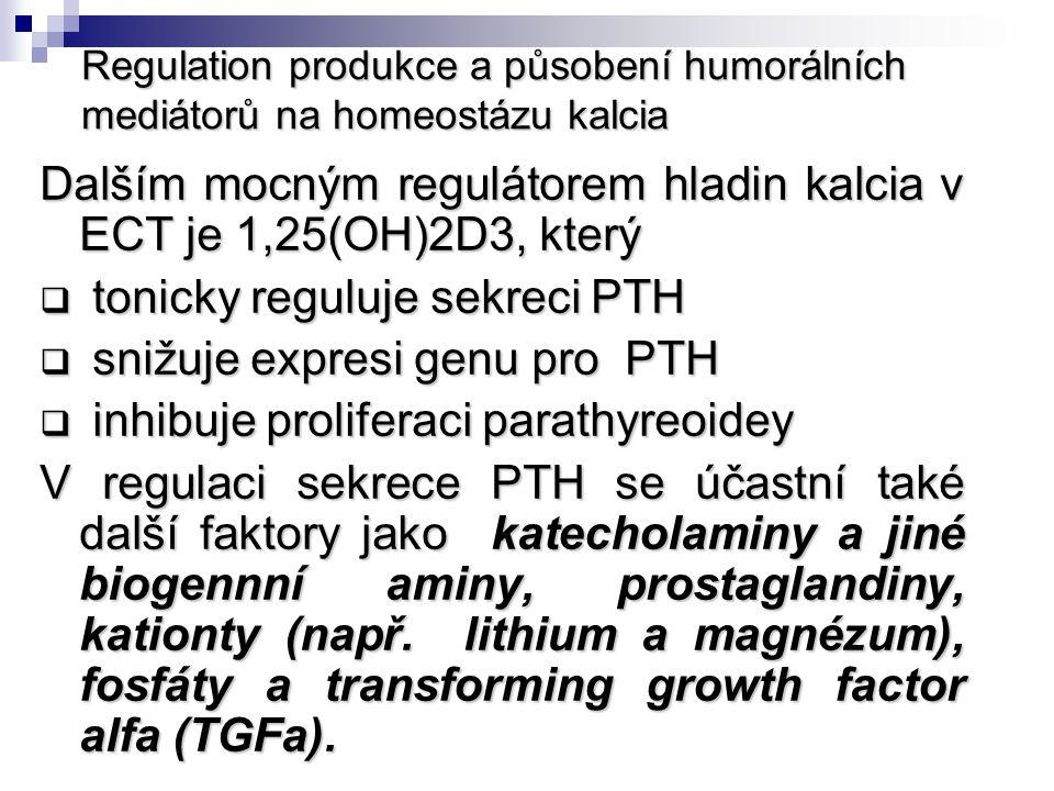 Regulation produkce a působení humorálních mediátorů na homeostázu kalcia Dalším mocným regulátorem hladin kalcia v ECT je 1,25(OH)2D3, který  tonick