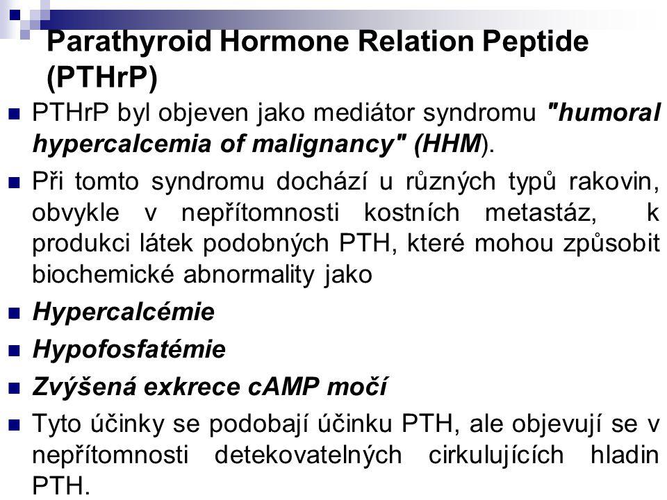 Parathyroid Hormone Relation Peptide (PTHrP) PTHrP byl objeven jako mediátor syndromu