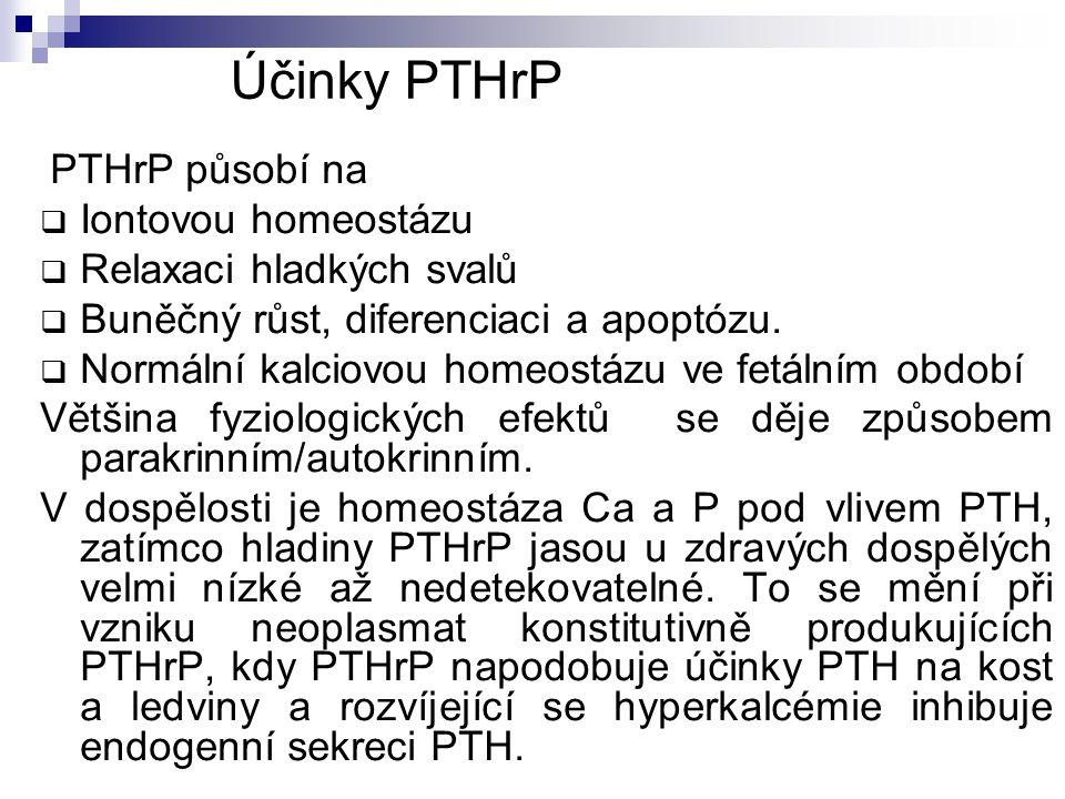 Účinky PTHrP PTHrP působí na  Iontovou homeostázu  Relaxaci hladkých svalů  Buněčný růst, diferenciaci a apoptózu.  Normální kalciovou homeostázu