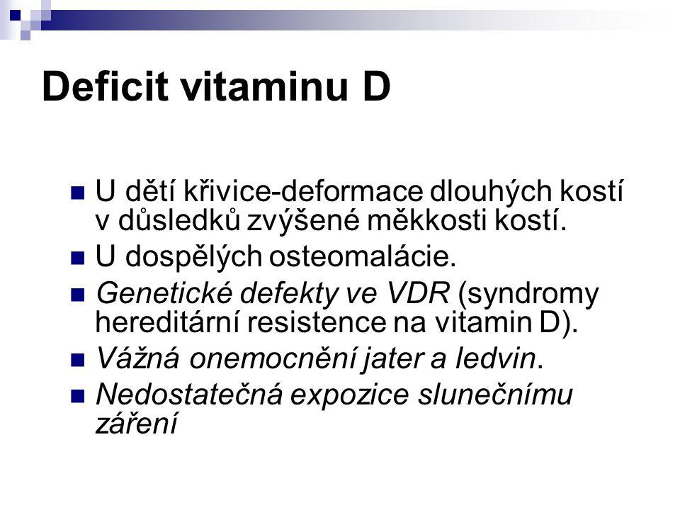 Deficit vitaminu D U dětí křivice-deformace dlouhých kostí v důsledků zvýšené měkkosti kostí. U dospělých osteomalácie. Genetické defekty ve VDR (synd