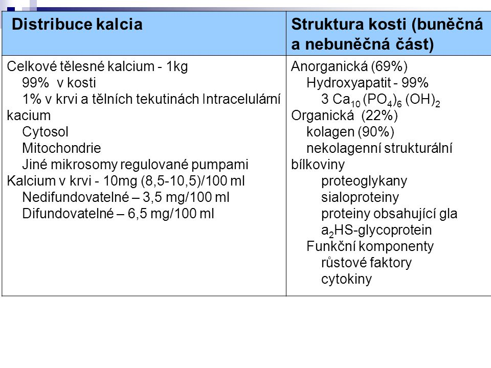 Distribuce kalcia Struktura kosti (buněčná a nebuněčná část) Celkové tělesné kalcium - 1kg 99% v kosti 1% v krvi a tělních tekutinách Intracelulární k