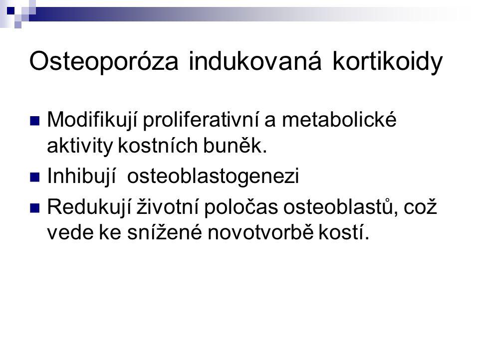 Osteoporóza indukovaná kortikoidy Modifikují proliferativní a metabolické aktivity kostních buněk. Inhibují osteoblastogenezi Redukují životní poločas