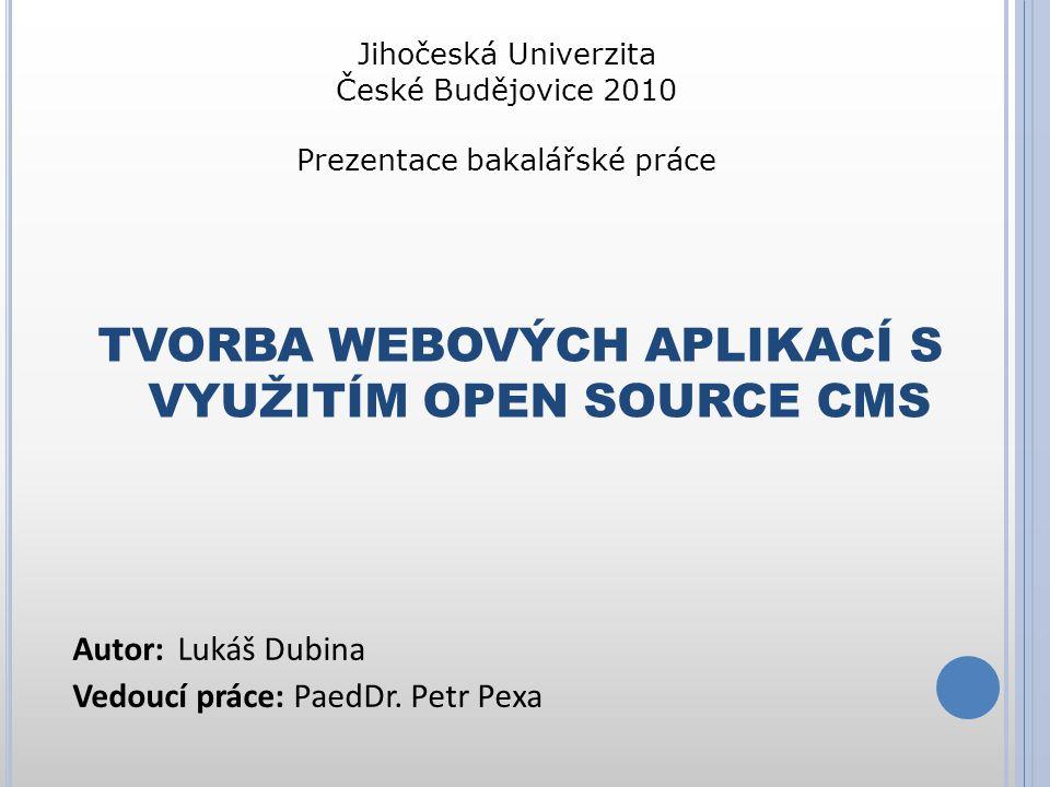 """Ú VOD CMS - content management system (systém pro správu obsahu – redakční systém) - internetová aplikace zajišťující správu webového obsahu Open Source - je počítačový software s otevřeným zdrojovým kódem Licence GNU GPL ( General Public License ) """"všeobecná veřejná licence GNU svoboda používání programu na jakýkoliv účel (komerční i nekomerční)"""