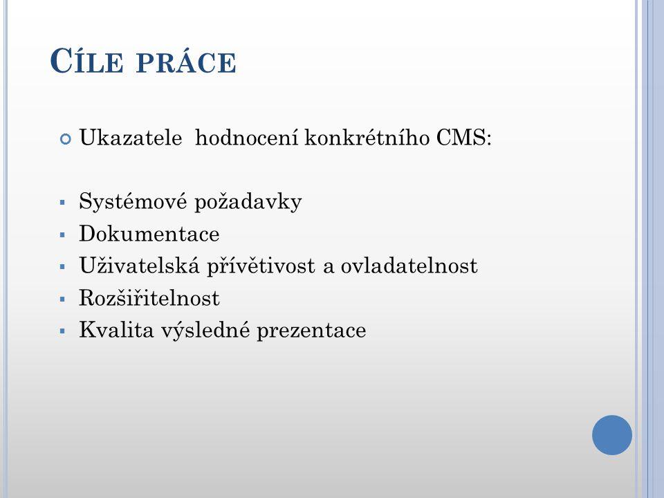 C ÍLE PRÁCE Testované CMS systémy:  Joomla.