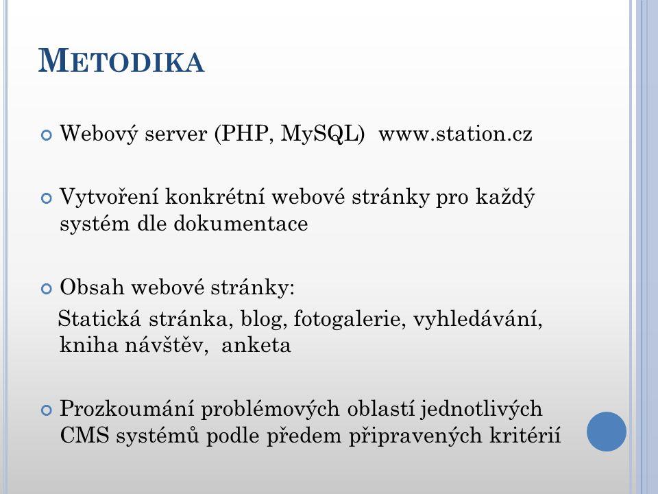 M ETODIKA Webový server (PHP, MySQL) www.station.cz Vytvoření konkrétní webové stránky pro každý systém dle dokumentace Obsah webové stránky: Statická stránka, blog, fotogalerie, vyhledávání, kniha návštěv, anketa Prozkoumání problémových oblastí jednotlivých CMS systémů podle předem připravených kritérií