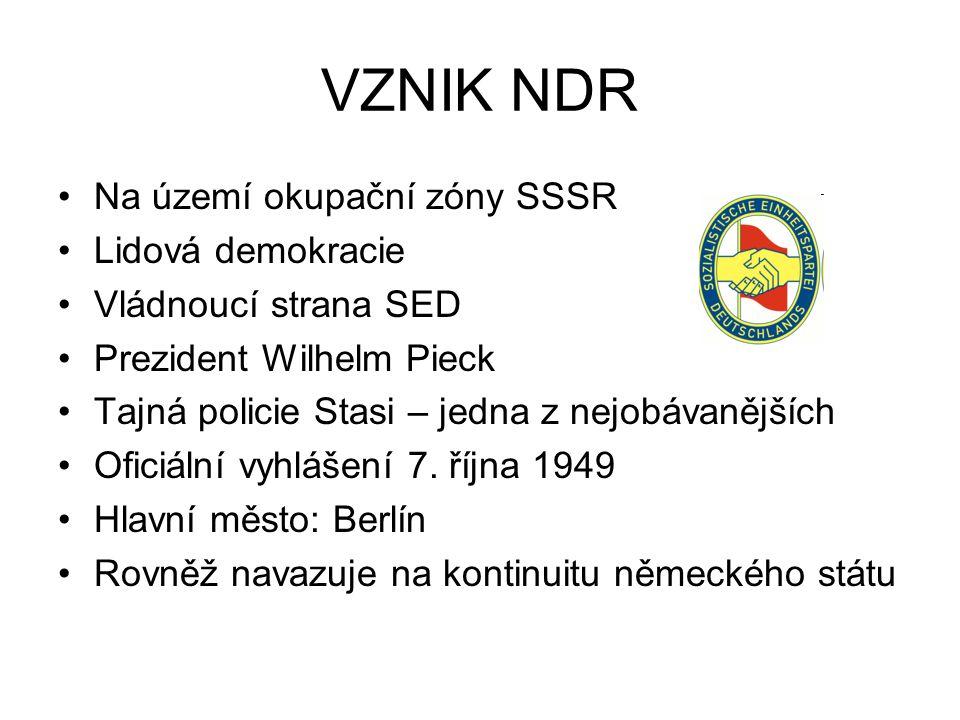 VZNIK NDR Na území okupační zóny SSSR Lidová demokracie Vládnoucí strana SED Prezident Wilhelm Pieck Tajná policie Stasi – jedna z nejobávanějších Ofi
