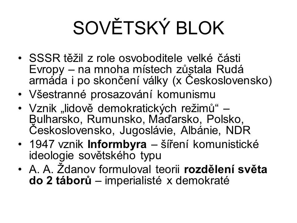 SOVĚTSKÝ BLOK SSSR těžil z role osvoboditele velké části Evropy – na mnoha místech zůstala Rudá armáda i po skončení války (x Československo) Všestran