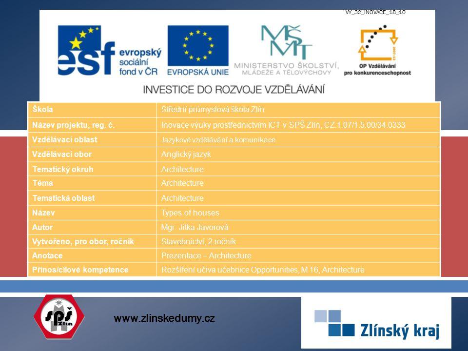  www.zlinskedumy.cz ŠkolaStřední průmyslová škola Zlín Název projektu, reg. č.Inovace výuky prostřednictvím ICT v SPŠ Zlín, CZ.1.07/1.5.00/34.0333 Vz