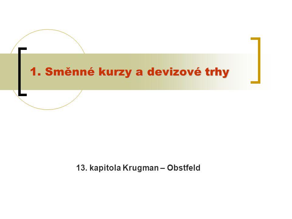 1. Směnné kurzy a devizové trhy 13. kapitola Krugman – Obstfeld