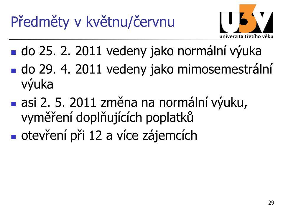 Předměty v květnu/červnu do 25. 2. 2011 vedeny jako normální výuka do 29. 4. 2011 vedeny jako mimosemestrální výuka asi 2. 5. 2011 změna na normální v