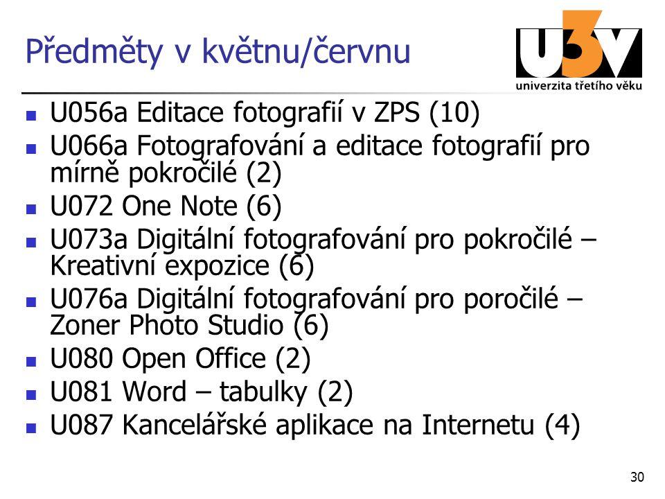 Předměty v květnu/červnu U056a Editace fotografií v ZPS (10) U066a Fotografování a editace fotografií pro mírně pokročilé (2) U072 One Note (6) U073a