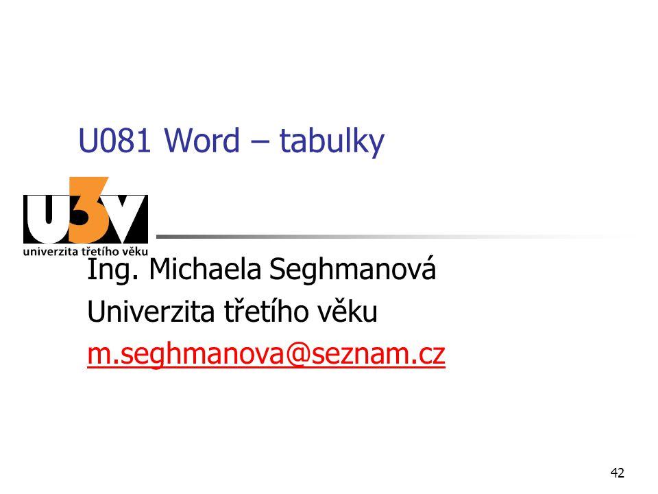 U081 Word – tabulky Ing. Michaela Seghmanová Univerzita třetího věku m.seghmanova@seznam.cz 42