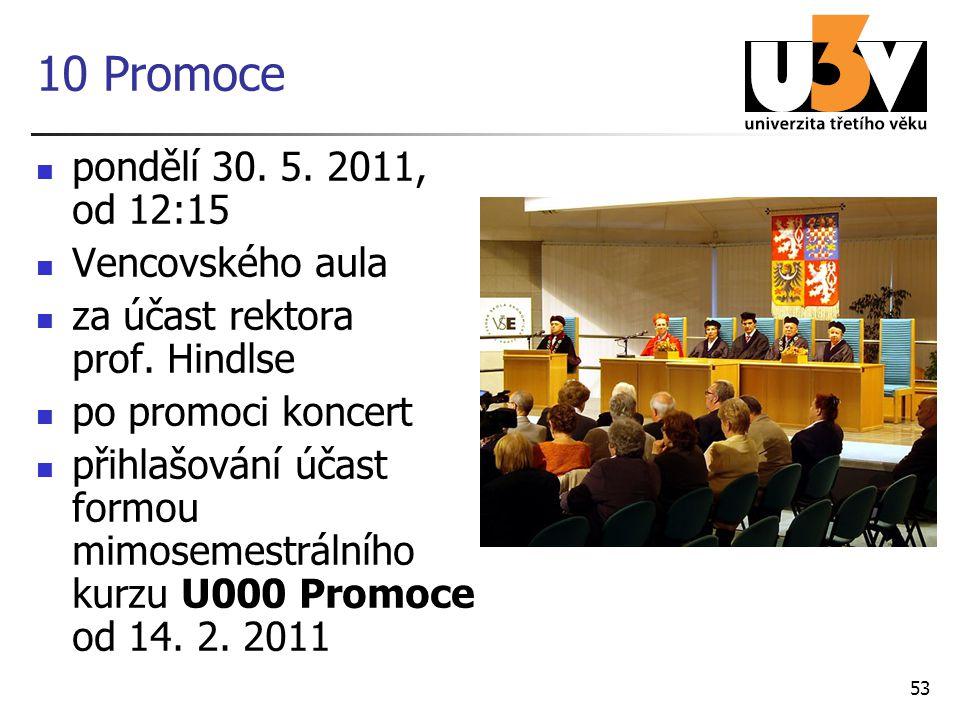 10 Promoce pondělí 30. 5. 2011, od 12:15 Vencovského aula za účast rektora prof. Hindlse po promoci koncert přihlašování účast formou mimosemestrálníh