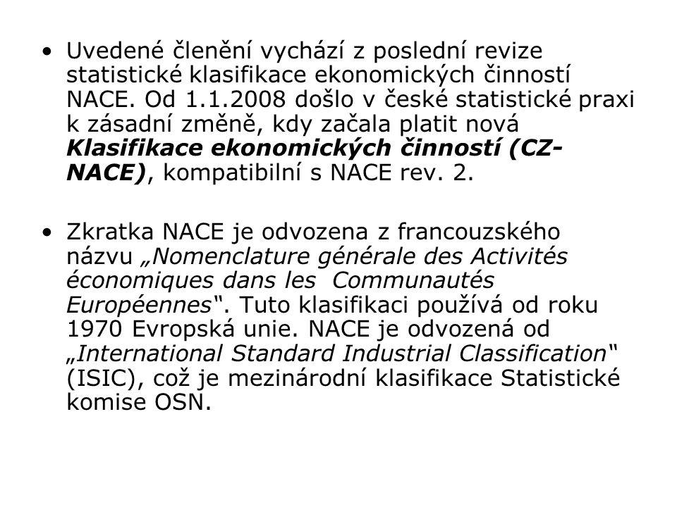 Uvedené členění vychází z poslední revize statistické klasifikace ekonomických činností NACE. Od 1.1.2008 došlo v české statistické praxi k zásadní zm