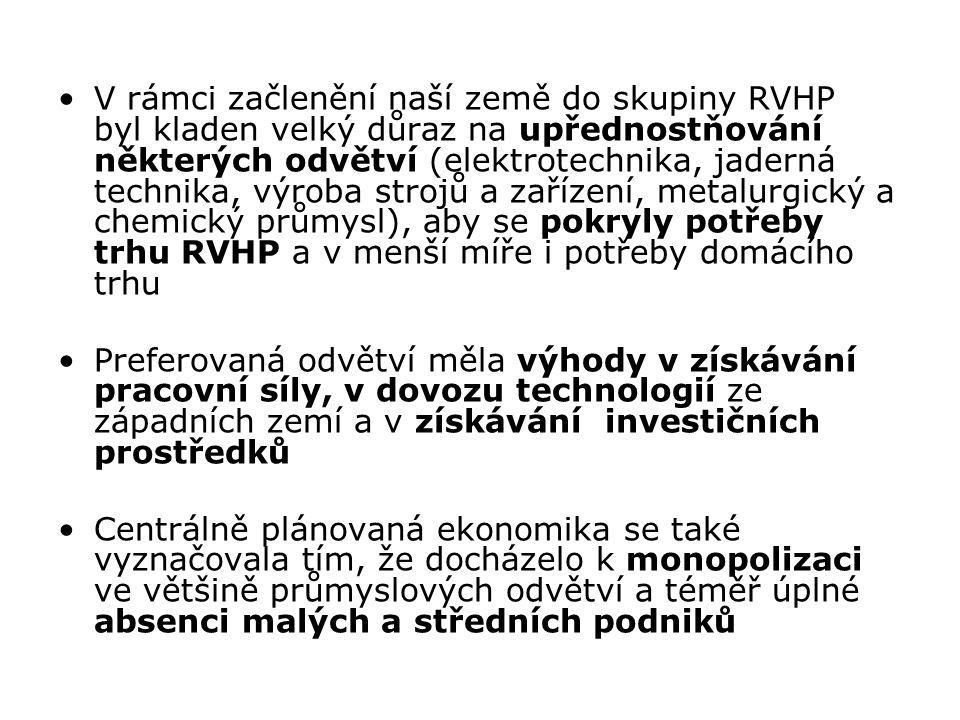 V rámci začlenění naší země do skupiny RVHP byl kladen velký důraz na upřednostňování některých odvětví (elektrotechnika, jaderná technika, výroba str