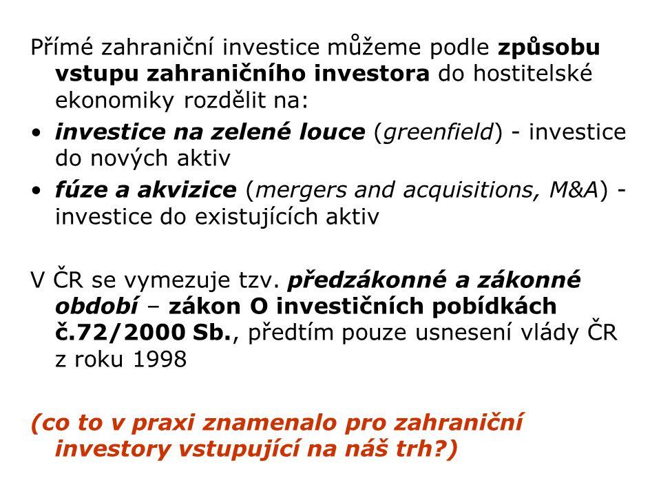 Přímé zahraniční investice můžeme podle způsobu vstupu zahraničního investora do hostitelské ekonomiky rozdělit na: investice na zelené louce (greenfi