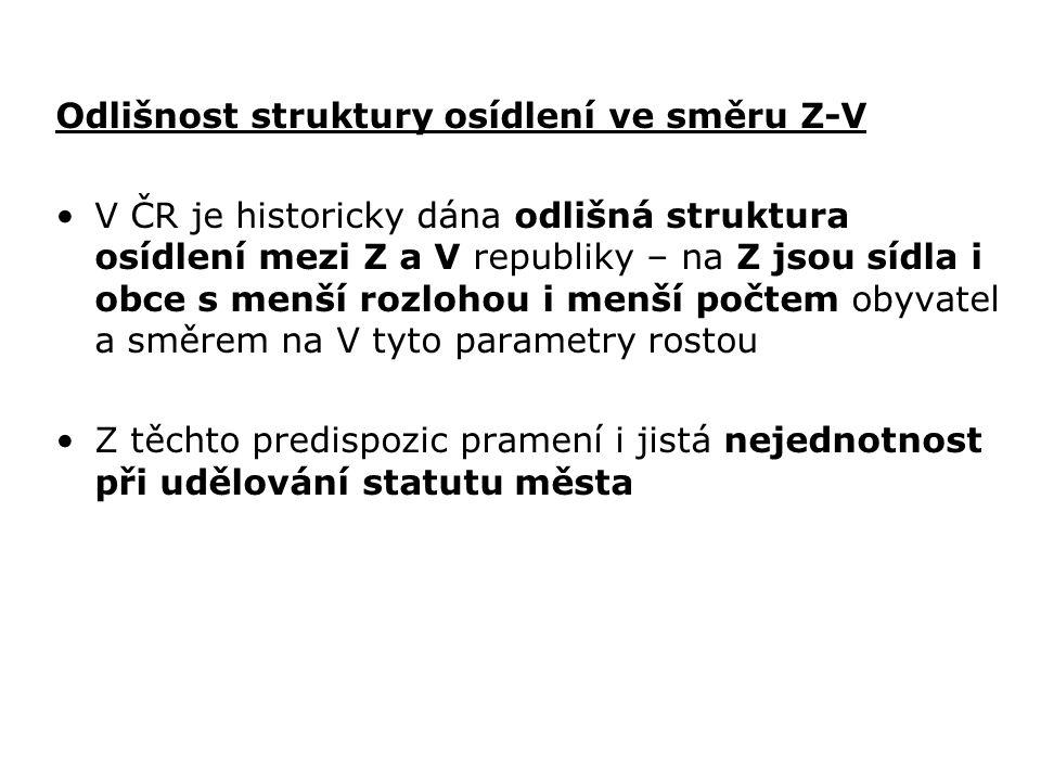 Odlišnost struktury osídlení ve směru Z-V V ČR je historicky dána odlišná struktura osídlení mezi Z a V republiky – na Z jsou sídla i obce s menší roz