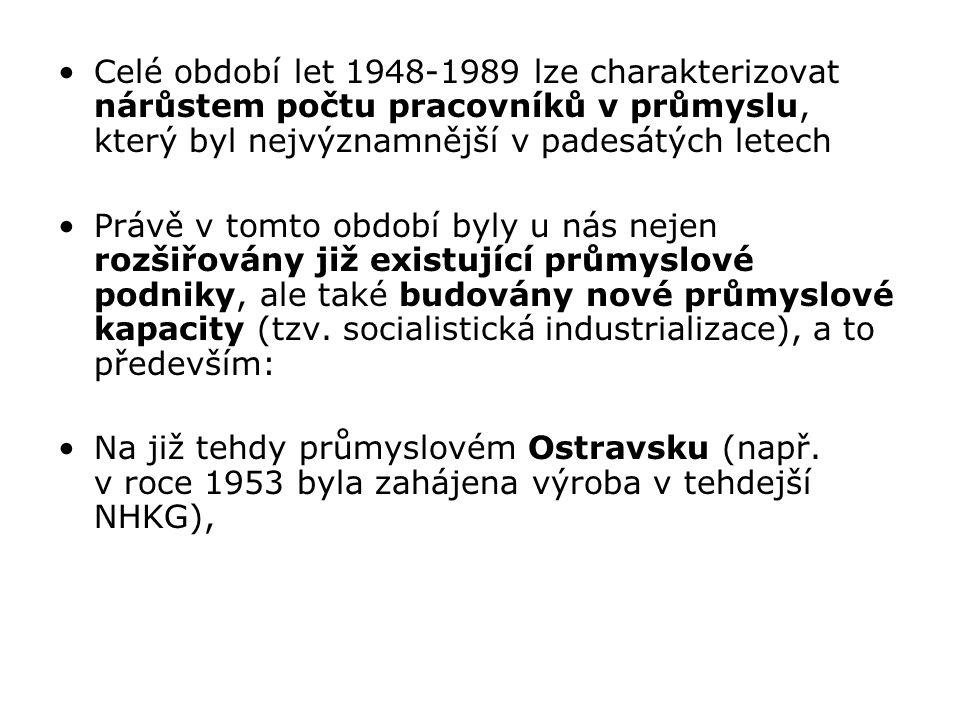 """dále v méně industrializovaných oblastech (až na pohraničí se SRN a Rakouskem): Českomoravské vrchoviny (v roce 1949 zahájil výrobu Motorpal Jihlava, v roce 1951 založeny Žďárské strojírny) … Jižních Čech (Jitex Písek od roku 1949) Jižní Moravy (Gumotex Břeclav od roku 1950, Železárny Veselí nad Moravou 1960) Východní Moravy (MEZ (Siemens) Frenštát pod Radhoštěm 1946, Tesla Rožnov p.Radhoštěm 1949) (bylo třeba """"zaplnit mezery – vyrovnávání rozdílů… Co to připomíná v dnešní době."""