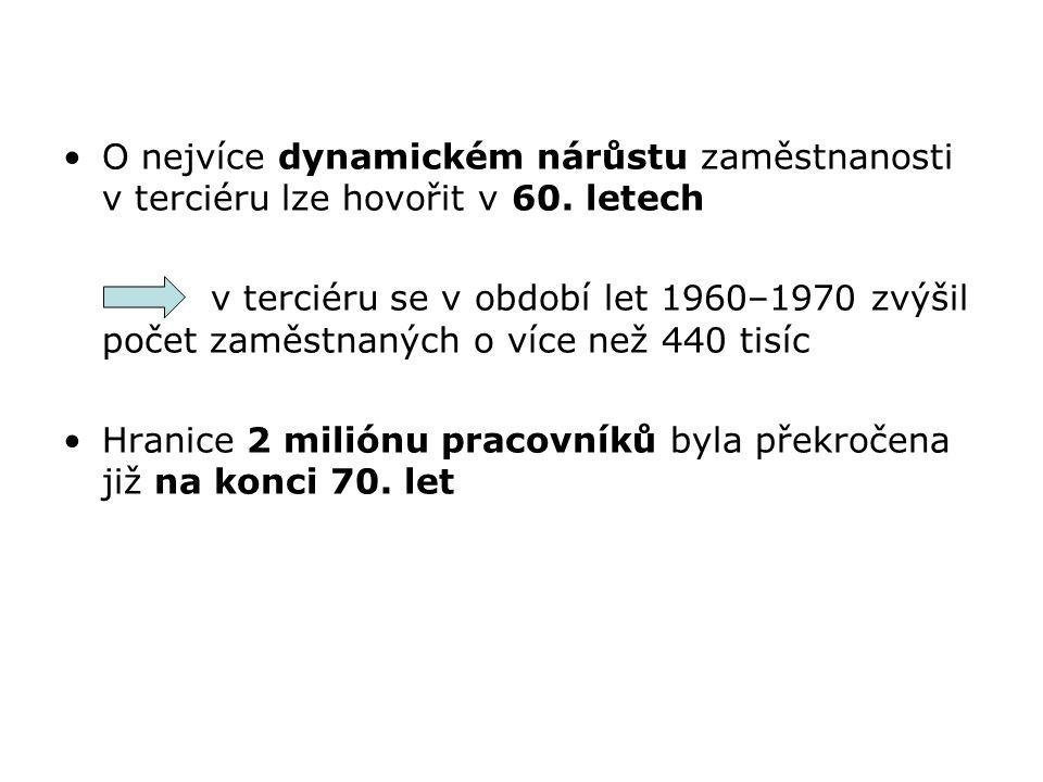 O nejvíce dynamickém nárůstu zaměstnanosti v terciéru lze hovořit v 60. letech v terciéru se v období let 1960–1970 zvýšil počet zaměstnaných o více n