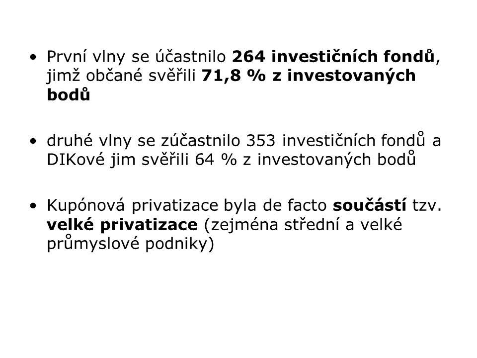 První vlny se účastnilo 264 investičních fondů, jimž občané svěřili 71,8 % z investovaných bodů druhé vlny se zúčastnilo 353 investičních fondů a DIKo
